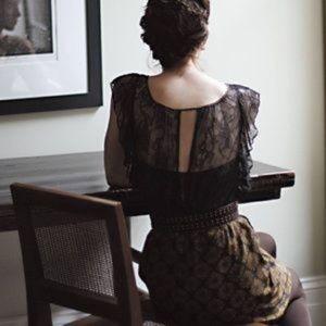 Anthropologie Maple Black Lace Silk Dress, Size XS